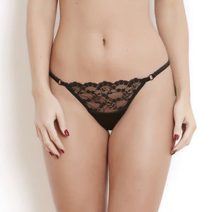 Black Silk And French Lace Sophia Thong