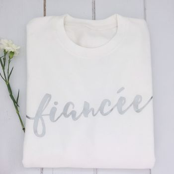 'Fiancee' White And Silver Engagement Sweater