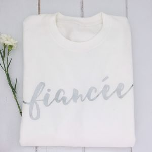 'Fiancee' White And Silver Engagement Sweater - women's fashion