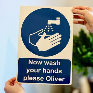 Wash Your Hands Personalised Metal Sign