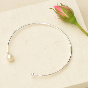Silver Bead And Pearl Bangle - women's jewellery