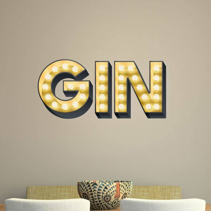 Gin Light Up Letters Effect Wall Sticker By Kapow Boom Graphics Notonthehighstreet