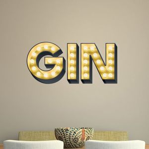 Gin Light Up Letters Effect Wall Sticker - home accessories
