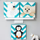Arctic Animal Nursery Canvas, Hand Painted