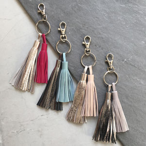 Borla Leather Handmade Metallic Tassel Keyring