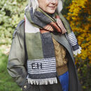 Personalised Check And Square Shawl With Feather Trim