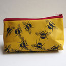 yellow leather bees make up bag