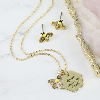 Personalised Bumblebee Necklace And Earrings Set