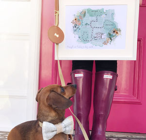 Personalised Favourite Dog Walk Paw And Footprint Map