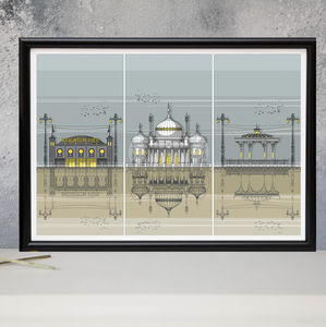 Brighton Triptych Architectural Print - canvas prints & art