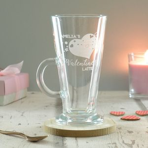 Personalised Valentines Engraved Latte Coffee Glass