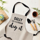 Personalised Dig It Linen Gardening Apron