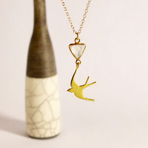 Gold Moonstone Swallow Necklace