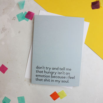 'Hangry' Funny Food Quote Birthday Card
