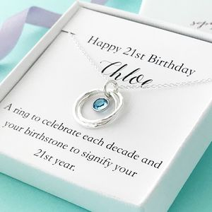 Personalised 21st Necklace With Birthstone