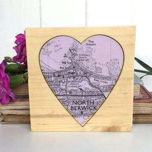 Heart Shaped Map Printed On Wood For 5th Wedding