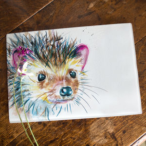 Inky Hedgehog Glass Worktop Saver - chopping boards