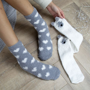 Set Of Two Polar Bear Bed Socks