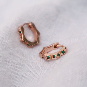 Green Gemstone Huggie Hoop Earrings