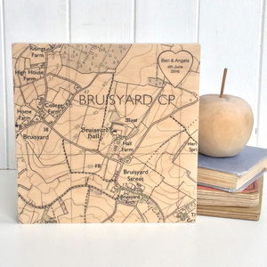 Personalised Heart Location Map Print On Wood - best wedding prints
