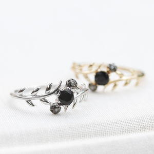 Black Spinel Delicate Leaf Ring In Silver And Gold - rings