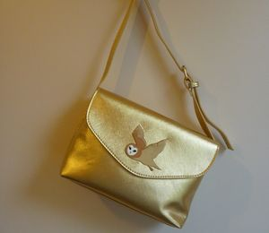 Metallic Gold Owl Charm Handbag - bags & purses