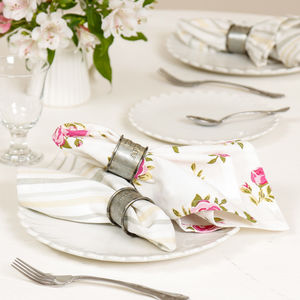 Set Of Two Summer Rose Vintage English Country Napkins - dining room