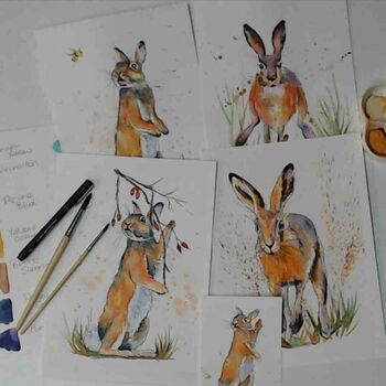 Bunny And Hare Watercolour Tutorial