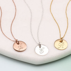 Personalised 18ct Gold Or Silver Initial Disc Necklaces