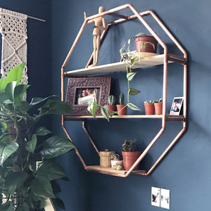 Copper Octagon Shelf Wall Hanging - bedroom