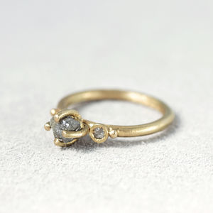 Claw Set Grey Rough Diamond Ring With Rose Cut Diamonds