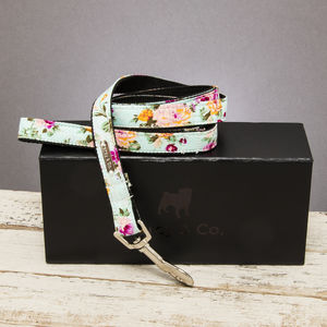 The Barnes Blue Floral Dog Lead - dog leads & harnesses