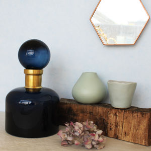 Blue And Gold Detail Vase With Lid - vases