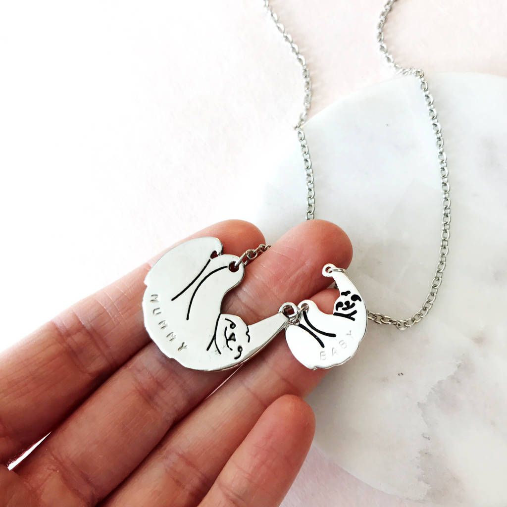 shiny animal img sloth products necklace gold in thumbnail dotoly charm pendant realistic baby original
