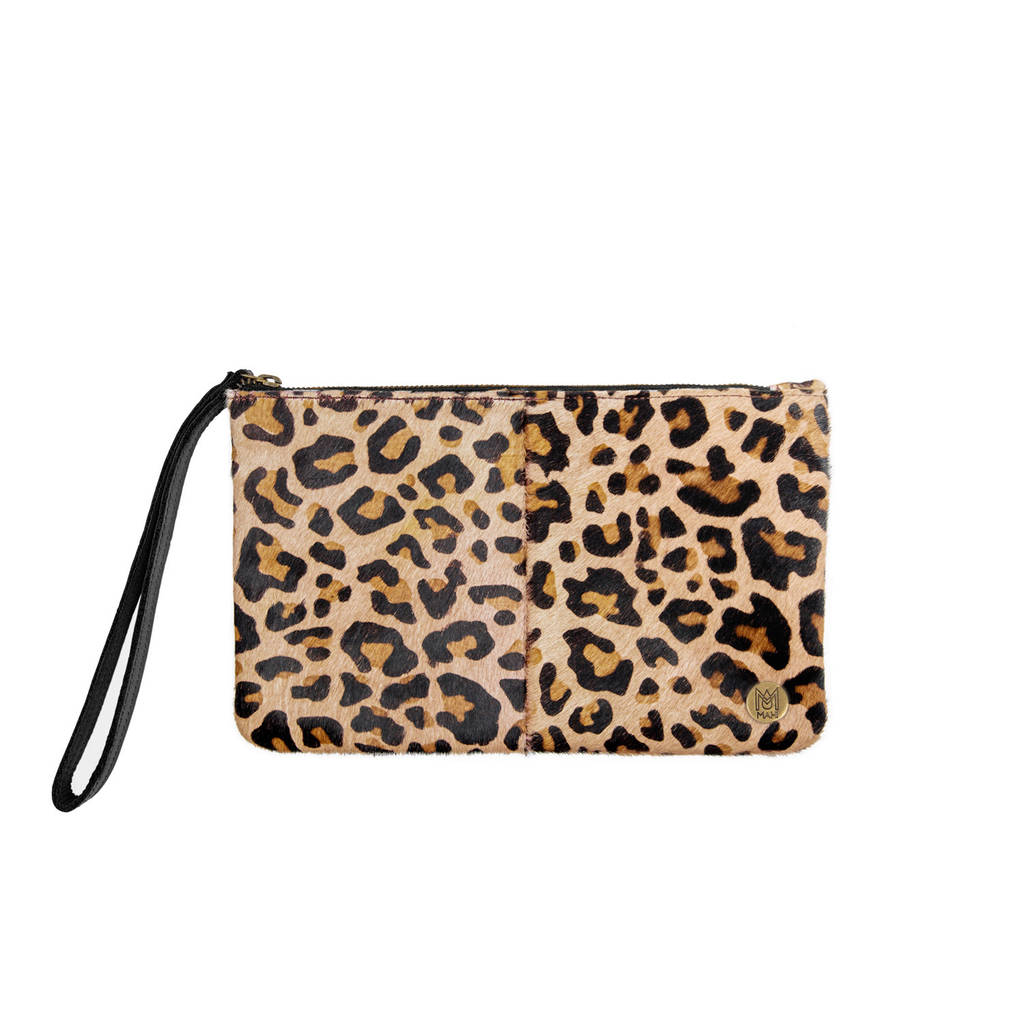 Leopard Print Pony Hair Clutch By Mahi