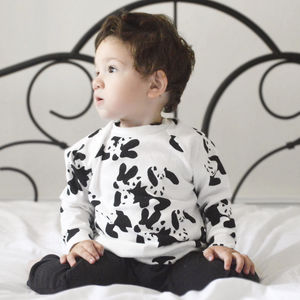 Panda Party Raglan Top - the monochrome edit