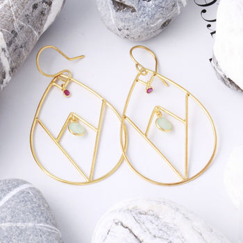 Statement Earrings With Gemstone