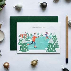 Christmas Skaters Greeting Card
