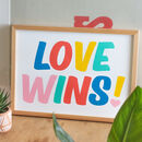 'Love Wins!' Colourful Retro Typography Print