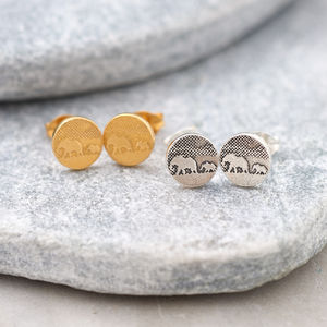 Sterling Silver Mother And Baby Elephant Stud Earrings
