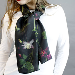 Dark Floral Long Silk Scarf
