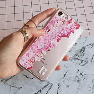 Pink Crystal Clear Monogram Phone Case