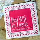 Personalised 'Best Wife In' Stripe Card