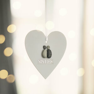 Personalised 'Sister' Hanging Heart Christmas Keepsake