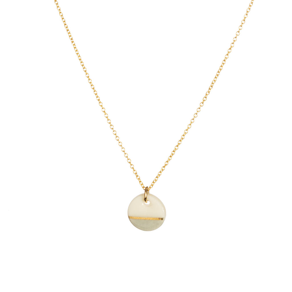 Mini Porcelain Grey Dipped Gold Necklace