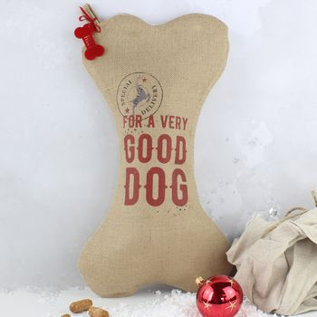 Personalised Dog Christmas Stocking With Tag