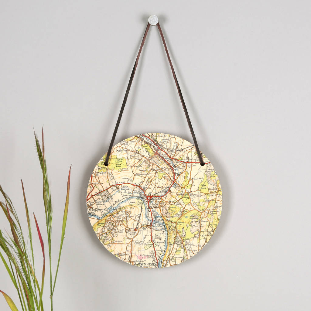 Personalised Hanging Map Location Circular Wall Art By