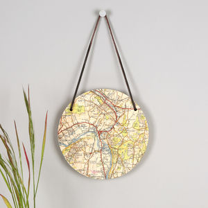 Personalised Hanging Map Location Circular Wall Art