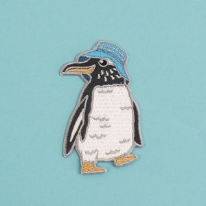 Penguin In A Bucket Hat Iron On Embroidered Patch