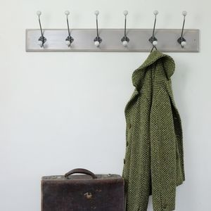 Traditional Vintage Painted Wooden Coat Rack - hooks, pegs & clips